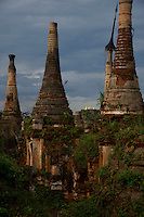 Shwe Inn Den Pagoda with over 1000 pagodas, Inle lake, Myanmar