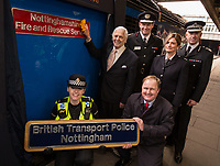 Front row kneeling are PC Beth Sykes of British Transport Police and Jake Kelly, MD of East Midlands Trains whilst standing from left are Councillor Brian Grocott, Chair of the Fire Authority, John Buckley, Chief Fire Officer, Sarah Crannage of Fire Control and Paul Crowther, Chief Constable, British Transport Police