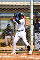 FCL Tigers West Roberto Campos (24) bats during a game against the FCL Yankees on July 31, 2021 at Tigertown in Lakeland, Florida.  (Mike Janes/Four Seam Images)