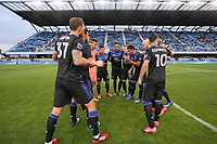 SAN JOSE, CA - MARCH 7: San Jose Earthquakes huddle during a game between Minnesota United FC and San Jose Earthquakes at Earthquakes Stadium on March 7, 2020 in San Jose, California.