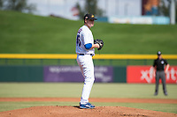 Mesa Solar Sox starting pitcher Justin Steele (45), of the Chicago Cubs organization, gets ready to deliver a pitch during an Arizona Fall League game against the Peoria Javelinas at Sloan Park on October 11, 2018 in Mesa, Arizona. Mesa defeated Peoria 10-9. (Zachary Lucy/Four Seam Images)