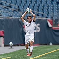 FOXBOROUGH, MA - JULY 25: USL League One (United Soccer League) match. Luke Hauswirth #2 of Union Omaha throw in during a game between Union Omaha and New England Revolution II at Gillette Stadium on July 25, 2020 in Foxborough, Massachusetts.