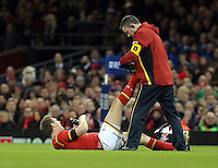 Dan Biggar of Wales with team physiotherapist during the Wales v France, 2016 RBS 6 Nations Championship, at the Principality Stadium, Cardiff, Wales, UK