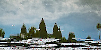 Reflection of the Khmer Angkor Wat temple near Siem Reap, Cambodia