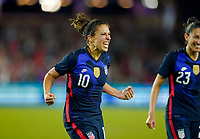 ORLANDO, FL - MARCH 05: Carli Lloyd #10 of the United States scores a goal and celebrates during a game between England and USWNT at Exploria Stadium on March 05, 2020 in Orlando, Florida.