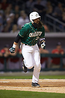 Derek Fritz (26) of the Charlotte 49ers hustles down the first base line against the Georgia Bulldogs at BB&T Ballpark on March 8, 2016 in Charlotte, North Carolina. The 49ers defeated the Bulldogs 15-4. (Brian Westerholt/Four Seam Images)