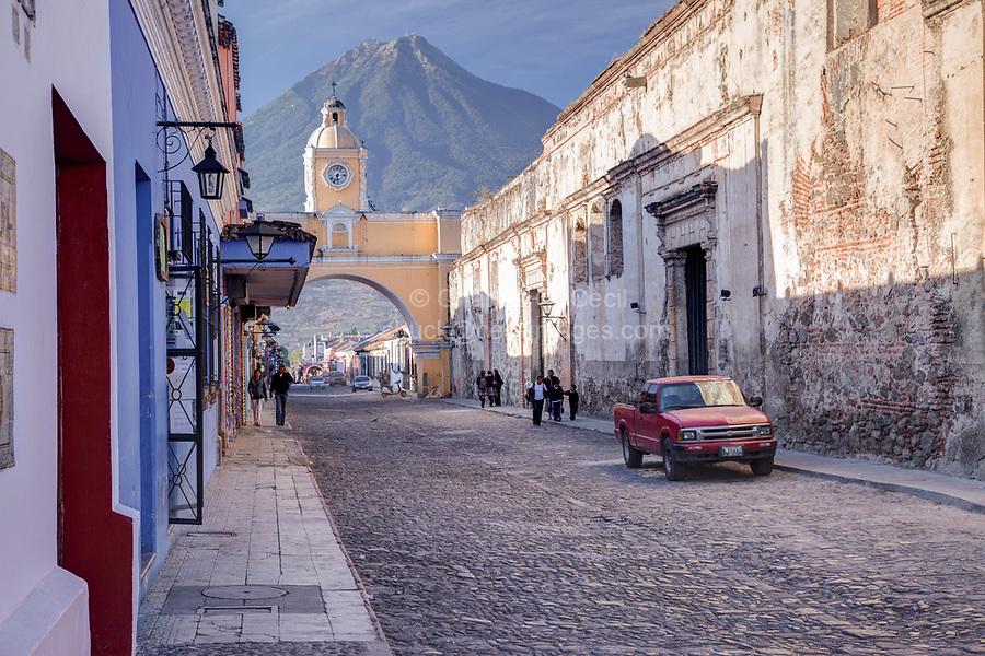 Antigua, Guatemala.  Santa Catalina Arch, Agua Volcano in Background.
