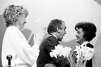 Le congres du NPD, mars 1987 au Palais des congres. Shirley Carr<br /> <br /> Montreal (Qc) Canada  file Photo -  march 1987 - NDP national convention in Montreal -- Ed Broadbent, New Democratic Party  (NPD) Leader (M)  Shirley Carr (R) and Marion dewar (L)