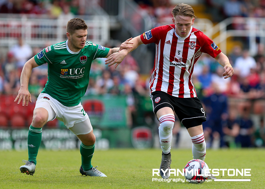 Ronan Curtis of Derry in action against Colm Horgan of Cork during the SSE Airtricity League Premier Division game between Cork City and Derry City on Monday 4th June 2018 at Turners Cross, Cork. Photo By Michael P Ryan