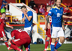 Aberdeen v St Johnstone…18.09.21  Pittodrie    SPFL<br />David Wotherspoon reacts after dragging his shot wide<br />Picture by Graeme Hart.<br />Copyright Perthshire Picture Agency<br />Tel: 01738 623350  Mobile: 07990 594431