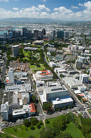 Aerial looking at the state capital and municipal bldgs in downtown Honolulu from Thomas Sq