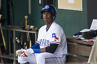 Round Rock Express shortstop Jurickson Profar #10 waits for his turn at bat against the New Orleans Zephyrs in the Pacific Coast League baseball game on April 21, 2013 at the Dell Diamond in Round Rock, Texas. Round Rock defeated New Orleans 7-1. (Andrew Woolley/Four Seam Images).