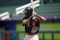 FCL Orioles Orange designated hitter Jose Berroa (18) bats during a game against the FCL Braves on July 22, 2021 at the CoolToday Park in North Port, Florida.  (Mike Janes/Four Seam Images)