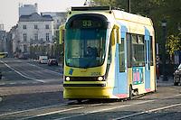 Bombardier T2000 series low floor tram car 2024 works on route 93 in Brussels, Belgium