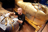 NO REPRO FEE. Tutankhamun: His Tomb and Treasures has arrived in Dublin at the RDS Industries Hall. Pictured is carpenter Frank Gehrmann putting the finishing touches to the exhibit. 'Tutankhamun - His Tomb and His Treasures' has already delighted over 1,700,000 visitors across Europe and will open on the 17 February at Dublin's RDS in the Industries Hall. The RDS is located on Merrion Road, Ballsbridge, Dublin 4. www.kingtutdublin.ie and www.ticketmaster.ie for further exhibition and ticket information. Picture James Horan/Collins Photos