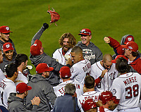 11 October 2012: Washington Nationals outfielder Jayson Werth celebrates hitting his game winning, walk-off, solo home run in the 9th inning of Postseason Playoff Game 4 of the National League Divisional Series against the St. Louis Cardinals at Nationals Park in Washington, DC. The Nationals defeated the Cardinals 2-1 tying the Series at 2 games apiece. Mandatory Credit: Ed Wolfstein Photo