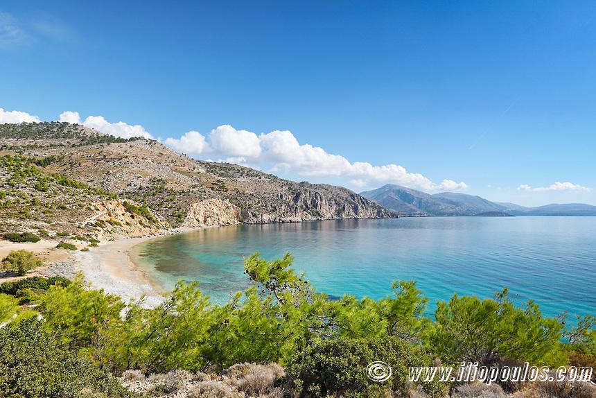 The beach Makria Ammos in Chios island, Greece