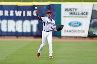 Tennessee Smokies right fielder Christopher Morel (11) warms up in between innings during the game against the Biloxi Shuckers on May 18, 2021, at Smokies Stadium in Kodak, Tennessee. (Danny Parker/Four Seam Images)