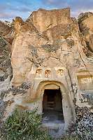 """Pictures & images of the exterior of the Comlekci Church,  10th century, the Vadisi Monastery Valley, """"Manastır Vadisi"""",  of the Ihlara Valley, Guzelyurt , Aksaray Province, Turkey.<br /> <br /> Comlekci Church is a Roman Byzantine church dating from the 10th century. the south section of the roof frescoes depict the Evangel, Christmas and the adoration of the magi. The northern panel frescoes depict Christ and the Cross."""