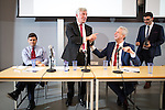 © Joel Goodman - 07973 332324 . 21/07/2016 . Manchester , UK . Hustings for the Mayoralty of Greater Manchester , at the Renold Building of the University of Manchester . L-R Labour candidates Andy Burnham ( MP for Leigh ) , Tony Lloyd ( current interim Mayor ) and  Ivan Lewis ( MP for Bury South ) debate their relative candidacies . Photo credit : Joel Goodman