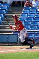 Altoona Curve shortstop Cole Tucker (3) follows through on a swing during a game against the Binghamton Rumble Ponies on June 14, 2018 at NYSEG Stadium in Binghamton, New York.  Altoona defeated Binghamton 9-2.  (Mike Janes/Four Seam Images)