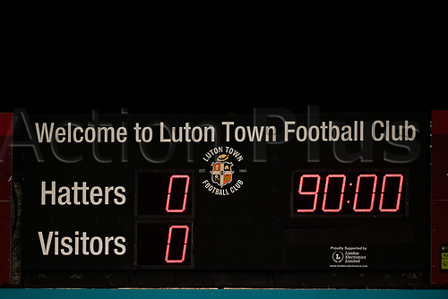 21st April 2021; Kenilworth Road, Luton, Bedfordshire, England; English Football League Championship Football, Luton Town versus Reading; The full time score at Kenilworth Road displayed on the scoreboard.