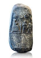 Stone Sculpture depicting  Kassite or 3rd Dynasty of Babylon King Meli-Shipak II commemorating a donation of land to his daughter-Hannubat Nannaya. Circa 1186-1172 BC excavated from Susa where it had been taken as a spoil of war. The king dressed in a long robe with his right hand raised in a gesture of greeting. With his left hand he grasps the wrist of his daughter. The princess carries in her left hand a nine-stringed harp. Both face an enthroned goddess Nanya, a deity worshipped especially at Uruk[, who is dressed in a flounced or segmented garment and donning a feathered mitre and sits on the far side of a cultic censer on a stand. Above them are the symbols of three divinities astral: the star of Ishtar, the sun god Shamash and Sin of the crescent moon are in the sky. The rest of the stele has been entirely defaced, possibly by an Elamite king intending to have his own inscription engraved. The Louvre Museum, Paris.