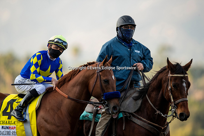 December 26, 2020: Charlatan and Mike Smith after winning the Malibu Stakes at Santa Anita Park in Arcadia, California on December 26, 2020. Evers/Eclipse Sportswire/CSM