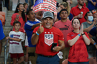 HOUSTON, TX - JUNE 13: USA fans before a game between Jamaica and USWNT at BBVA Stadium on June 13, 2021 in Houston, Texas.