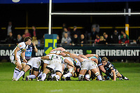 The players scrum down during the LV= Cup second round match between Ospreys and Northampton Saints at Riverside Hardware Brewery Field, Bridgend (Photo by Rob Munro)