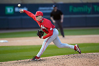 Closing pitcher Bayden Root (6) of the Ohio State Buckeyes in a game against the Illinois Fighting Illini on Friday, March 5, 2021, at Fluor Field at the West End in Greenville, South Carolina. (Tom Priddy/Four Seam Images)