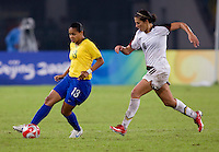 Francielle, Carli Lloyd. The USWNT defeated Brazil, 1-0, to win the gold medal during the 2008 Beijing Olympics at Workers' Stadium in Beijing, China.