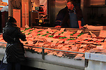 Fish vendor at the Albert Cuyp Market, Amsterdam, Netherlands