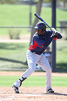 Jorge Martinez #13 of the Cleveland Indians during a Minor League Spring Training Game against the Los Angeles Dodgers at the Los Angeles Dodgers Spring Training Complex on March 22, 2014 in Glendale, Arizona. (Larry Goren/Four Seam Images)