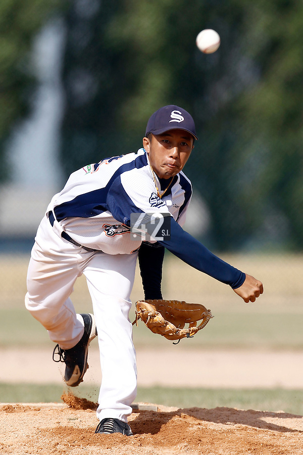14 July 2011: Starting pitcher Daisuke Dice Ikenaga of the Savigny Lions pitches against the PUC during the 2011 Challenge de France match won 7-2 by the Savigny Lions over the PUC, in Les Andelys, near Rouen, France.