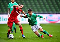 18th May 2020, WESERSTADION, Bremen, Germany; Bundesliga football, Werder Bremen versus Bayer Leverkusen;  Bremen's Milot Rashicatakes on Leverkusen's Florian Wirtz