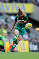George Ford of Leicester Tigers takes a kick during the Aviva Premiership Final between Leicester Tigers and Northampton Saints at Twickenham Stadium on Saturday 25th May 2013 (Photo by Rob Munro)