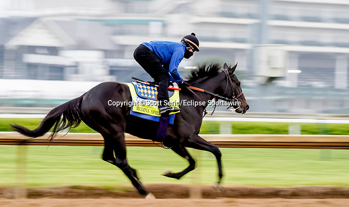 April 25, 2021: Medina Spirit, trained by trainer Bob Baffert, exercises in preparation for the Kentucky Derby at Churchill Downs on April 25, 2021 in Louisville, Kentucky. Scott Serio/Eclipse Sportswire/CSM