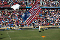 STANFORD, CA - JUNE 29: Sky Diver during a Major League Soccer (MLS) match between the San Jose Earthquakes and the LA Galaxy on June 29, 2019 at Stanford Stadium in Stanford, California.