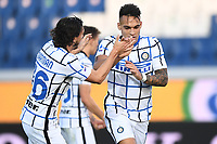Lautaro Martinez of FC Internazionale celebrates after scoring the goal of 0-1 during the Serie A football match between Atalanta BC and FC Internazionale at Gewiss stadium in Bergamo (Italy), November 8th, 2020. Photo Image Sport / Insidefoto