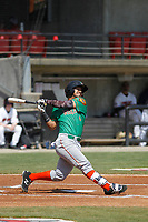 Down East Wood Ducks outfielder Eduard Pinto (4) at bat during a game against the Carolina Mudcats  on April 27, 2017 at Five County Stadium in Zebulon, North Carolina. Carolina defeated Down East 9-7. (Robert Gurganus/Four Seam Images)