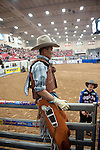 January 2009: Bullrider Spud Jones waits for his scores after riding Arrowhead at the CBR World Championships in Las Vegas
