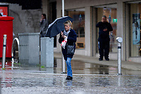 WEATHER PICTURE WALES<br /> Shoppers battle the weather in Swansea City Centre, Swansea, Wales, UK. Friday 07 June 2019<br /> Re: Storm Miguel causes rain in Swansea, south Wales, UK