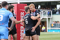 Daniel Harrison of London Broncos (right) celebrates with Jarrod Sammut of London Broncos after he scores the second try of the game during the Kingstone Press Championship match between London Broncos and Sheffield Eagles at Castle Bar , West Ealing , England  on 9 July 2017. Photo by David Horn.