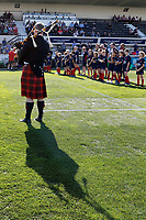 A general view of the piper and mascots during the Greene King IPA Championship match between London Scottish Football Club and Cornish Pirates at Richmond Athletic Ground, Richmond, United Kingdom on 21 September 2019. Photo by Carlton Myrie / PRiME Media Images.