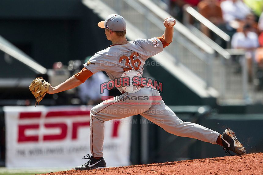 Texas Longhorns pitcher Nathan Thornhill (36) delivers a pitch to the plate during the NCAA baseball game against the Houston Cougars on June 6, 2014 at UFCU Disch–Falk Field in Austin, Texas. The Longhorns defeated the Cougars 4-2 in Game 1 of the NCAA Super Regional. (Andrew Woolley/Four Seam Images)