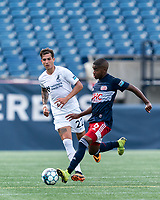 FOXBOROUGH, MA - JULY 25: USL League One (United Soccer League) match. Maciel #6 of New England Revolution II passes the ball during a game between Union Omaha and New England Revolution II at Gillette Stadium on July 25, 2020 in Foxborough, Massachusetts.