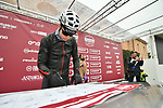 Sign on before the start of the 2018 Strade Bianche NamedSport race running 184km from Siena to Siena, Italy. 3rd March 2018.<br /> Picture: LaPresse/Massimo Paolone | Cyclefile<br /> <br /> <br /> All photos usage must carry mandatory copyright credit (© Cyclefile | LaPresse/Massimo Paolone)
