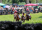 22 May 2011.  The field comes to the last hurdle in the first of two laps.   The $15,000 David Mullins Memorial Maiden Hurdle, High Hope Steeplechase at the Kentucky Horse Park.
