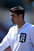 Detroit Tigers third baseman Nick Castellanos (9) during a spring training game against the St. Louis Cardinals on March 3, 2014 at Joker Marchant Stadium in Lakeland, Florida.  Detroit defeated St. Louis 8-5.  (Mike Janes/Four Seam Images)